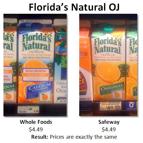 Florida's Natural Orange Juice Prices at Whole Foods and Safeway