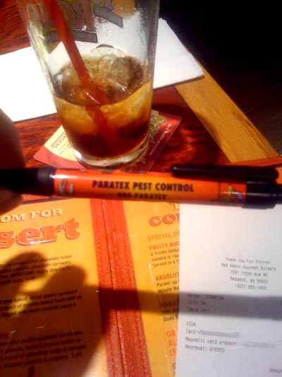 Paratex Pest Control pen at Red Robin in Redmond, Washington