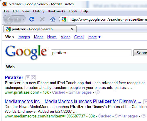Piratizer search results on Google